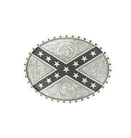 Nocona Nocona Belt Buckle- Silver Rebel Flag