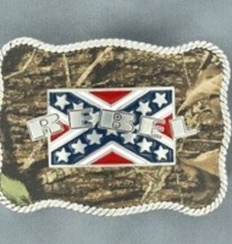 M & F Western Products Nocona Belt Buckle- Rebel Flag with Camo Background