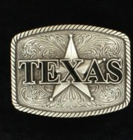 M & F Nocona Belt Buckle- Silver Texas and Star