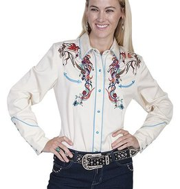 Scully Women's Scully Colorful Horse Embroidered Western Shirt