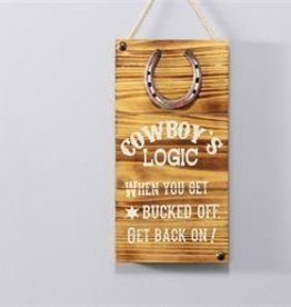 "Giftcraft Inc. Wood Wall Sign, Cowboy's Logic - 8"" x 15.5"""