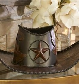 Giftcraft Inc. Metal Cowboy Hat Design Planter