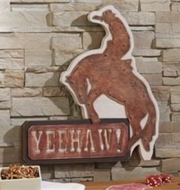 Giftcraft Inc. LED Lighted Wood/Metal Cowboy Design Wall Sign