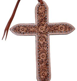 Showman Floral Tooled Leather Tie On Cross