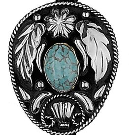 Western Express Bolo Tie - German Silver Turquoise