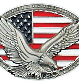 Western Express Eagle on USA Flag Belt Buckle