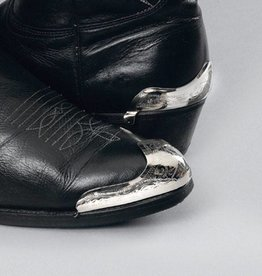 Western Express Boot Heel Guards - Silver Engraved