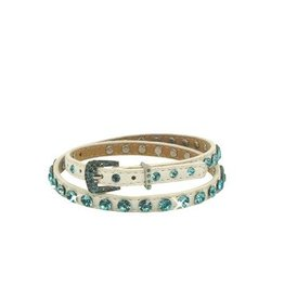 WEX Hat Band White with Turquoise Rhinestones