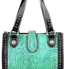 WEX Handbag - Tooled Turquoise & Black