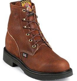 "Justin Work Boots Men's Justin 6"" Aged Bark Steel Toe Boots Aged Bark 9 D"