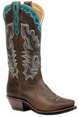 Boulet Western Women's Boulet Cutter Toe Western Boot Brown/Turquo - Proudly Canadian!
