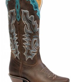 Boulet Western Boots INC. Women's Boulet Cutter Toe Western Boot Brown/Turquo - Proudly Canadian!
