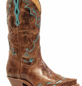 Boulet Western Women's Boulet Snip Toe Western Boot Turq Overlay