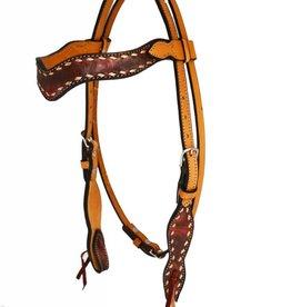 Alamo Saddlery Sleek Wave Overlay Headstall Copper Horse