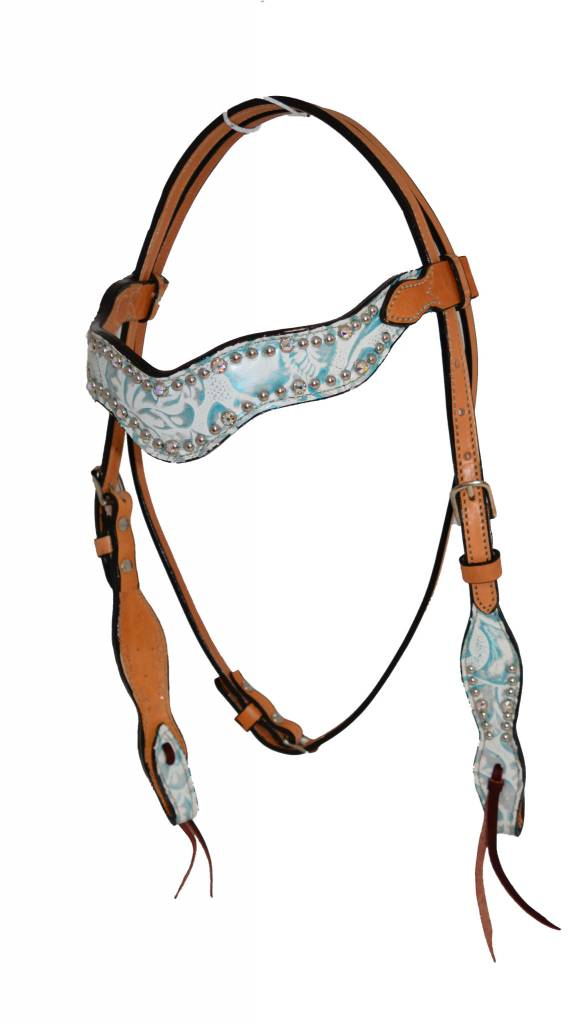 Alamo Saddlery Wave Floral Overlay Headstall WHT/Blu Horse