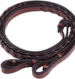 HDR Flat Laced Leather Reins, Australian Nut (color) - Pony Size