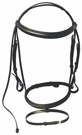 HDR Henri de Rivel Padded Dressage Bridle w/Flash, Black - Cob Size