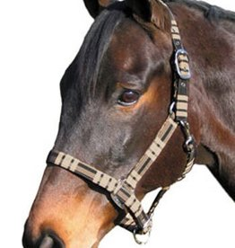JPC Equestrian Cob Size Plaid Covered Halter Sand & Black