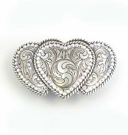 M & F Triple Heart Rope Edge Belt Buckle
