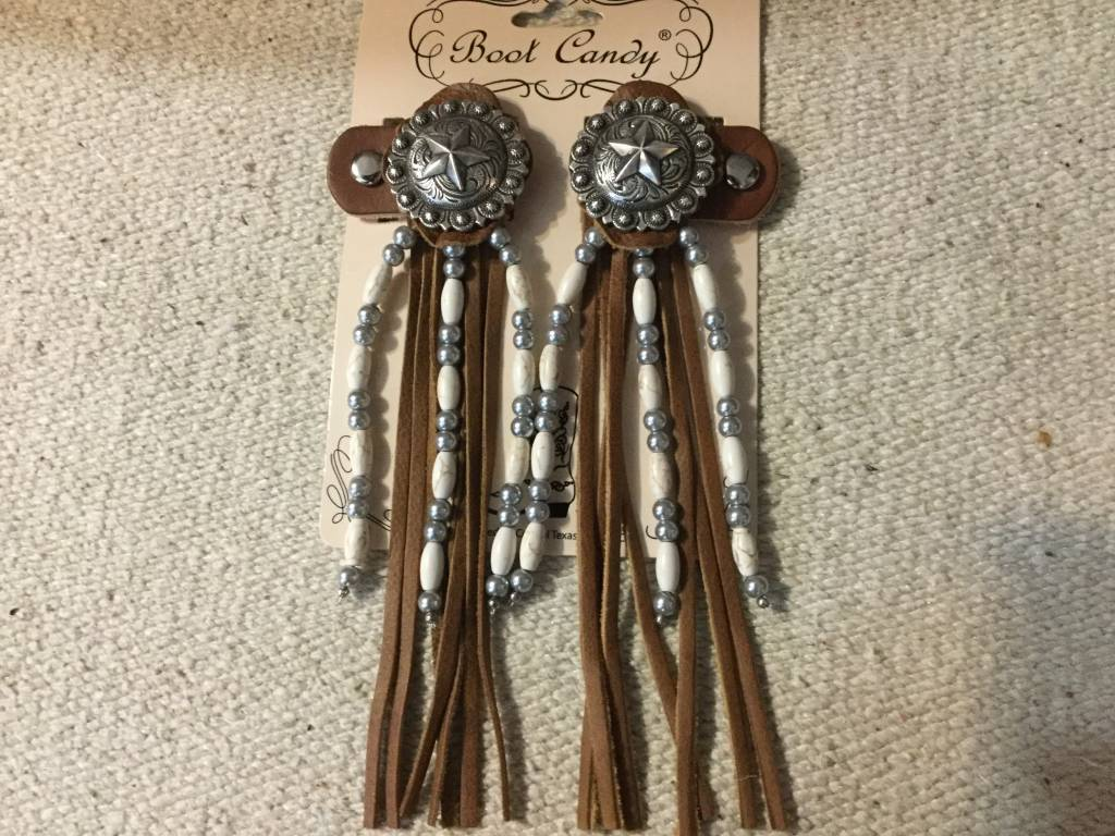 Central Texas Leather Co. Boot Candy Toppers White Silver