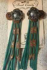 Central Texas Leather Boot Candy Toppers Turquoise Berry
