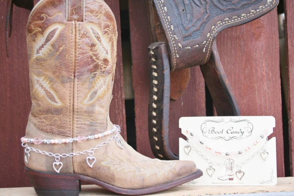 Central Texas Leather Boot Candy Hearts Pink Adult