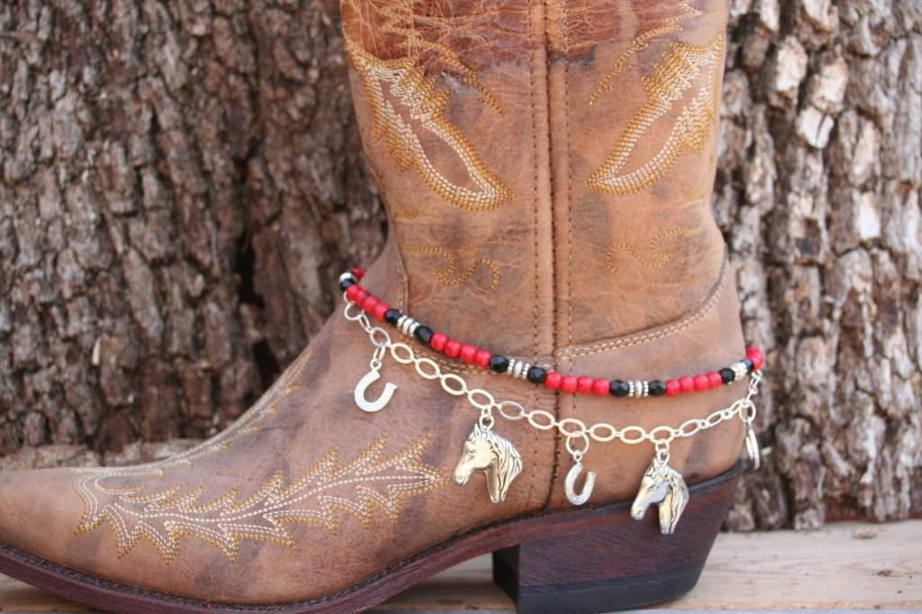 Central Texas Leather Co. Boot Candy Lucky Horseshoes Red Black Adult
