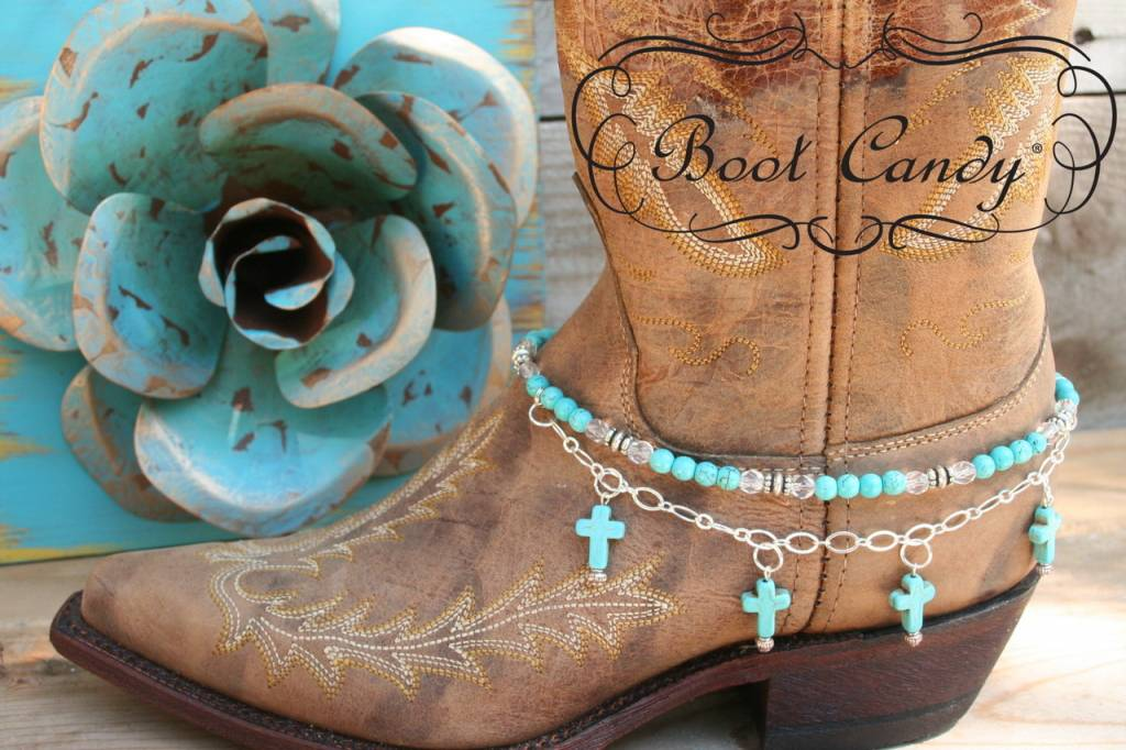 Central Texas Leather Co. Boot Candy, Turquoise Cross Turq Cross Adult