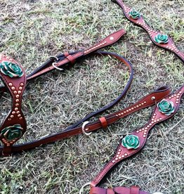 Alamo Saddlery Medium Oil Leather w/ Roses & Copper Spots Tack Set