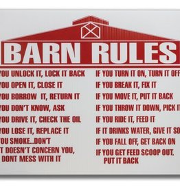 Barn Rules Sign (coated wafer-board)