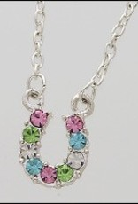 AWST International Necklace - Multi-Colored Rhinestone Horse Shoe