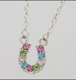 AWST International Necklace - Multi-Colored Rhinestone Horse Shoe