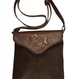 AWST Handbag - Brown Tooled Cross Body w/ Lila Horse