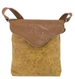 AWST International Handbag - Tan Tooled Cross Body w/Lila Horse