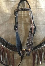 Circle L Spotted Headstall w/ Fringe Breast Collar Set - Horse Size