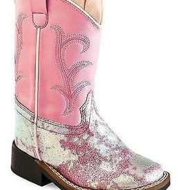 Old West Toddler's Old West Pink & Purple Leatherette Broad Square Toe Boots