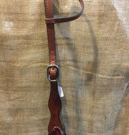 Circle L Circle L Scalloped One Ear Headstall - Horse Size  Dk. Oil