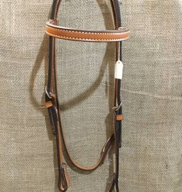 Circle L Circle L Leather Browband Headstall, Light Oil, U.S.A. Made - Horse Size