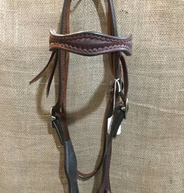 Circle L Circle L Headstall, Scalloped, D.Oil, Shell Design, U.S.A. Made - Horse Size