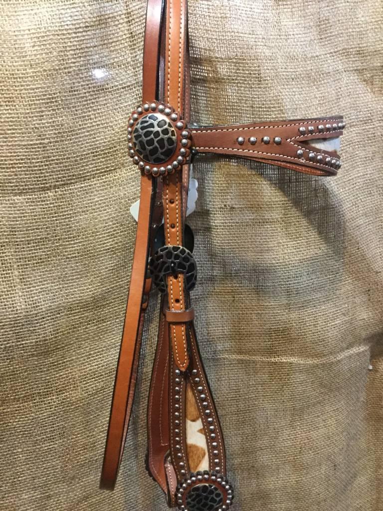 Circle L Circle L Headstall, Cow Hair Browband & Cheeks, M.Oil - Horse - $69.95 @ 40% OFF!