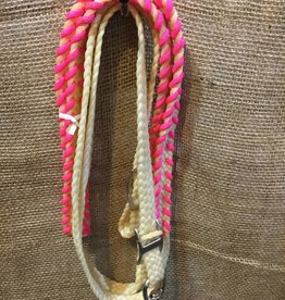 "Lamprey Circle L Waxed Colored Roping Rein, Pink - 3/4"" x 8'"