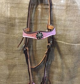 Circle L Circle L Headstall, Pink Ostrich Overlay, Crystal Concho, U.S.A. Made - $125 @ 30% OFF!