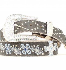 M & F Western Products Adult - Cross Embroidered Crystal Belt