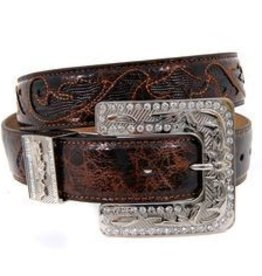 M & F Western Products Adult - Brn/Blk Square Buckle Belt XL