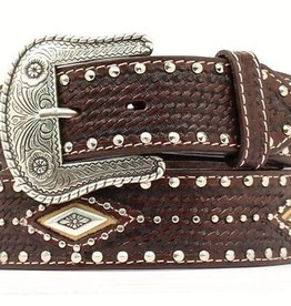 M & F Western Products Adult - Leather Belt w/ Diamond Conchos