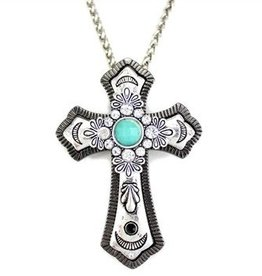 Wyo-Horse Necklace - Antiqued Silver/Turquoise Cross