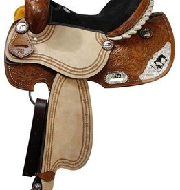 Double T Double T Barrel Saddle w/Praying Cowboy Accents