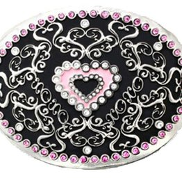Western Fashion Accessories Pink Heart Belt Buckle