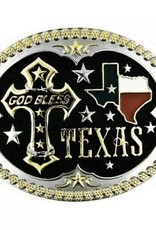 Western Fashion Accessories GOD Bless Texas Oval Belt Buckle