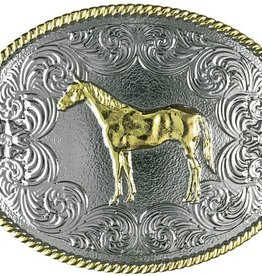 Western Fashion Accessories Gold Standing Horse Belt Buckle